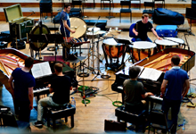 Cédric Tiberghien, François-Frédéric Guy, Colin Currie & Sam Walton recording Bartók's Sonata for two pianos and percussion in Henry Wood Hall, London