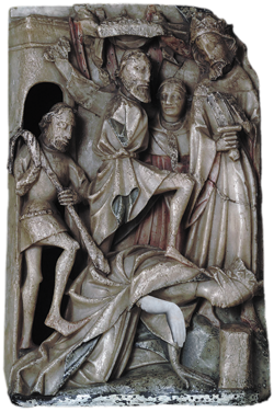 The beheading of Saint Katherine. The executioner stands over the crowned but helpless saint, his foot on her shoulder, while her tormentor the Emperor Maxentius looks on. Arm replacing the lost original in the panel © Sarah Danays, 2018. Courtesy of the Victoria and Albert Museum, London
