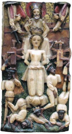 Saint Katherine saved from torture on the wheels, here seen broken by divine intervention, Ca' d'Oro, Venice, c1450